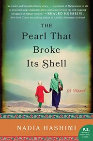 The Pearl That Broke Its Shell by Nadia Hashimi (cover) Image: a woman and young firl in Arab dress walk across a desert