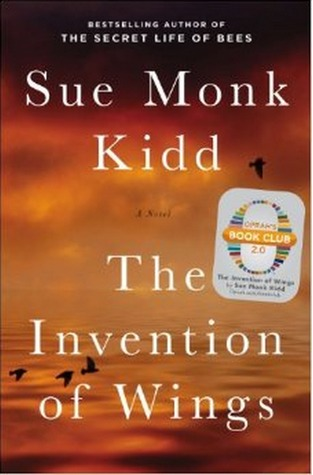The Intention of Wings by Sue Monk Kidd (cover) (white lettering over a goldish redish sky background) featuring a few small flying birds)