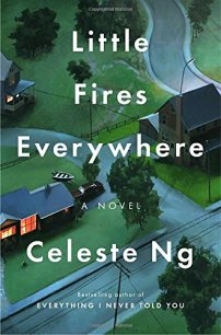 Little Fires Everywhere by Celest Ng (cover) Image: white lettering over an arial vew of a nice neighborhood