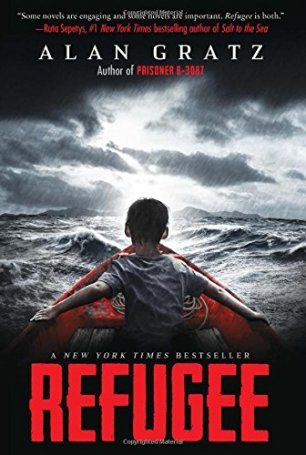 Refugee by Alan Gratz (cover) a boy with his back to the camera in the hull of a small red boat on a stormy ocean)