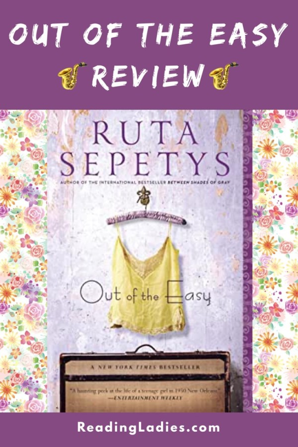 Out of the Easy by Ruta Sepetys (cover) Image: a yellow camisole hangs on a padded hanger above an old brown suitcase