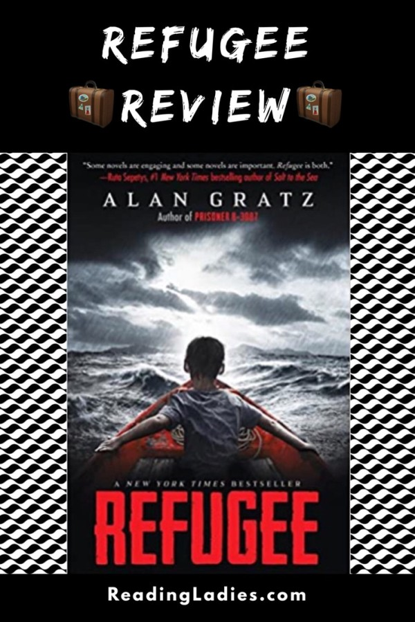 Refugee by Alan Gratz (cover) Image: a small child with back to camera in a small red rowboat on a stormy ocean