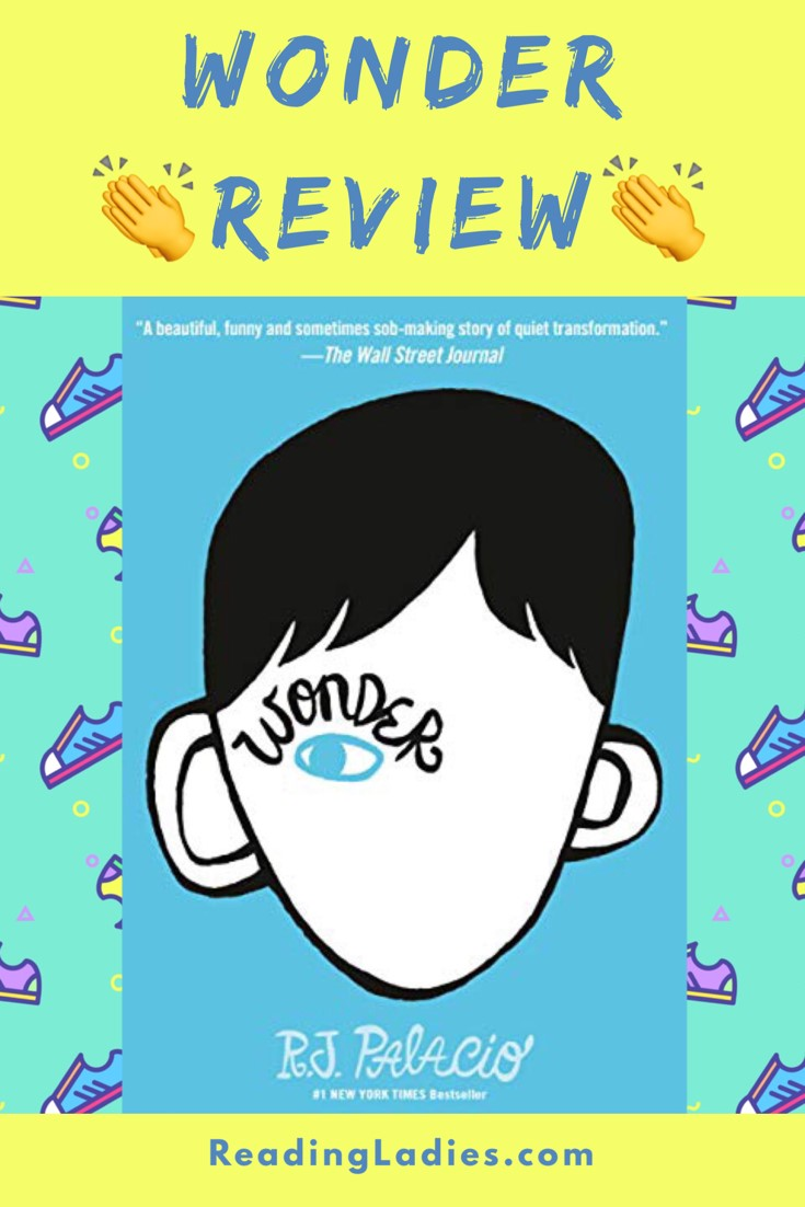 Wonder by R.J. Palacio (cover) Image: graphic of a mostly blank boy's head (one eye and a head of hair and ears are the only features) against a blue background