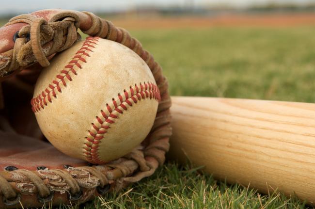 baseball, glove, bat
