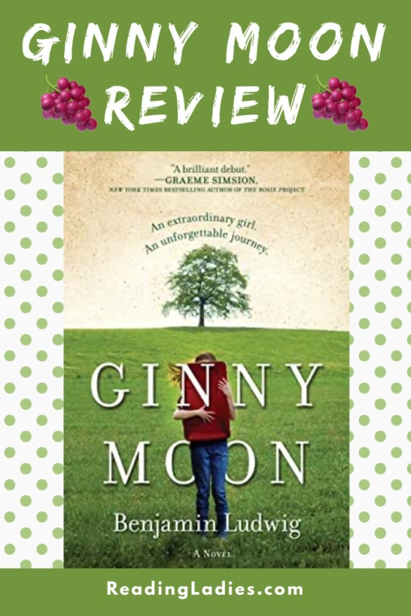 GinnyMoon by Genjamin Ludwig (cover) Image: a girl holding a red backpack stands in an open grassy field with one lone tree in the background)