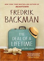 The Deal of a Lifetime by Fredrik Backman (cover) Image: a large blue suitcase sits on a wood floor and against the wall....a straw hat is propped on one corner of the suitcase and a white toy bunny lies on the floor next to the suitcase