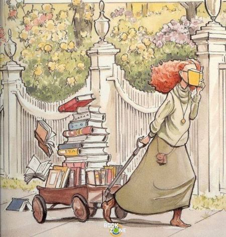 image of a girl reading with one hand while pulling a wagon piled high with books