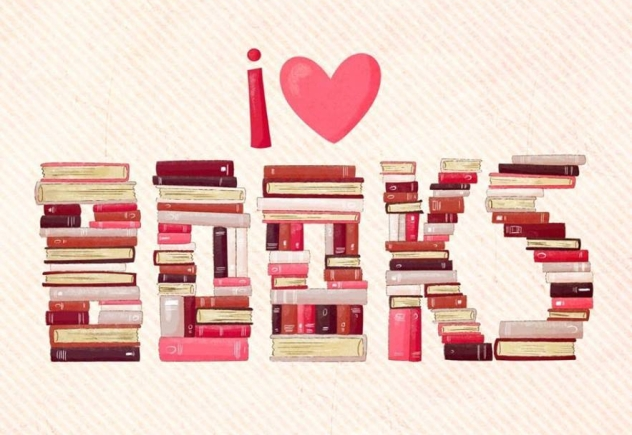 "I ""heart"" books (books spelled out in book stacks)"