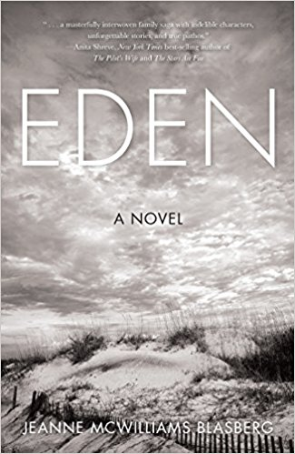 Eden by Jeanne Blasberg (cover) Image: a grayscale windswept sandy beach landscape with native plants growing along a wooden fence