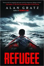 Regugee by Alan Gratz (cover)...back view of a child rowing a boat in a story ocean