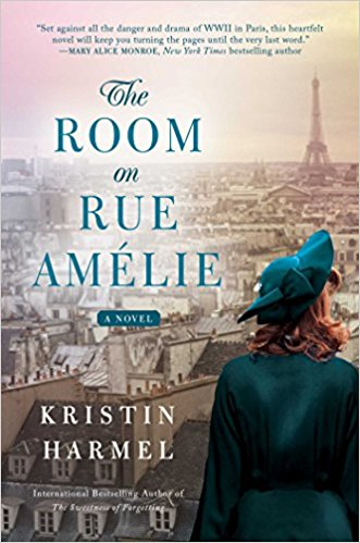 Room on Rue Amelie by Kristin Harmel (cover) Image: a young woman in a blue coat and beret overlooks the city of Paris