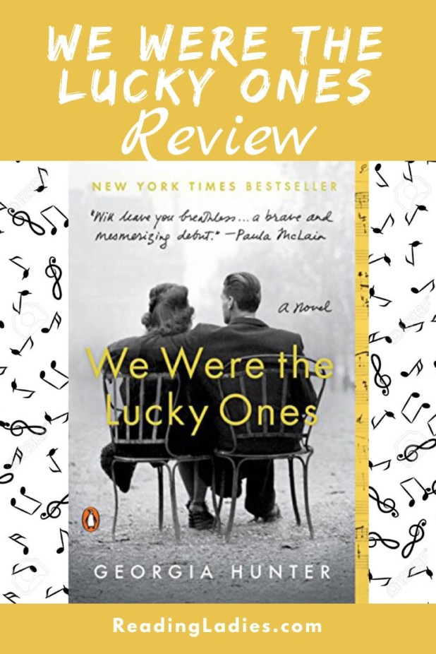 We Were the Lucky Ones by Georgia Hunter (cover) Image: a black and white photo of a man and woman sitting in metal garden chairs with backs to the camera