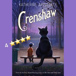 Crenshaw by Katherine Applegate (cover) Image: a young boy and a large imaginary cat sit on a bench with backs to the camera