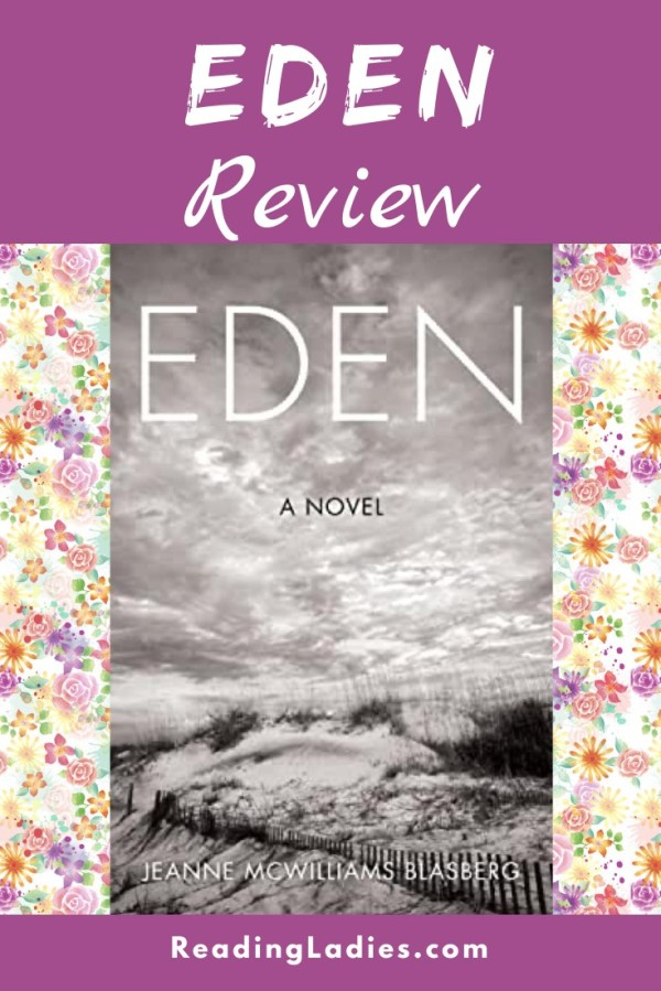 Eden by Jeanne Blasberg (cover) Image: a grayscale windswept beach landscape with native plants and a wooden picket fence