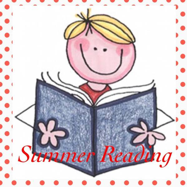 smiling stick figure girl holding an open book (caption: Summer Reading)