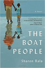 The Boat People by Sharon Bala (cover) Image: a man and a young boy hold hands on a beach looking out over the ocean