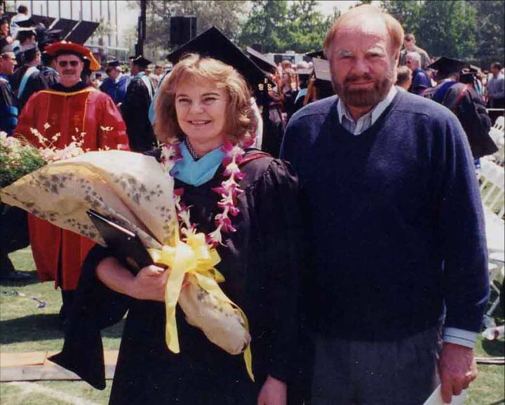 Dad and me at graduation with my masters