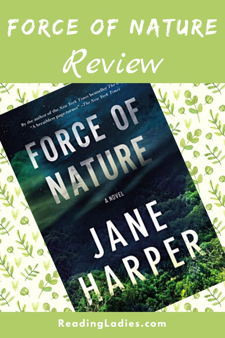Force of Nature by Jane Harper (cover) Image: white text on a background of hills and trees