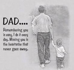 Text: Dad...Remembering you is easy, I do it every day. Missing you is the heartache that never goes away. Image: a father and young child walk hand in hand (backs to the camera)