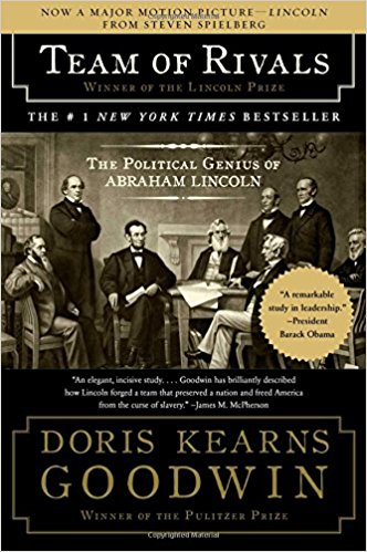 Team of Rivals by Doris Kearns Goodwin (cover) Image: Lincoln and a group of politicians at a meeting