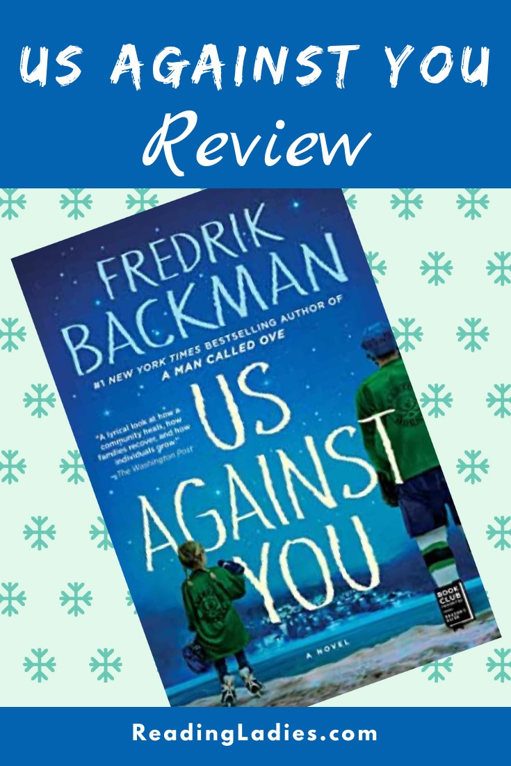 Us Against You by Fredrik Backman (cover) Image: two kids stand with ice skates on at the edge of a snowy village