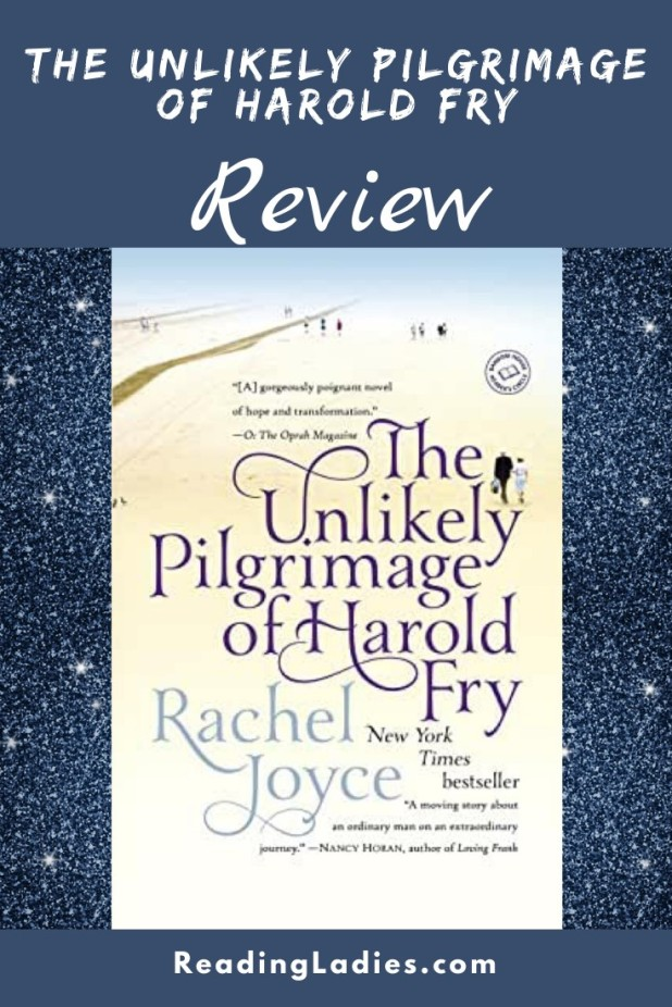 the Unlikely Pilgrimage of Harold Fry by Rachel Joyce (cover) Image: purple and blue text on a light background with two small figures walking and a road in the distance