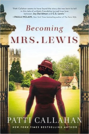 Becoming Mrs. Lewis by Patti Callahan (cover) Image: a woman in a red dress and red hat walks away from the camera