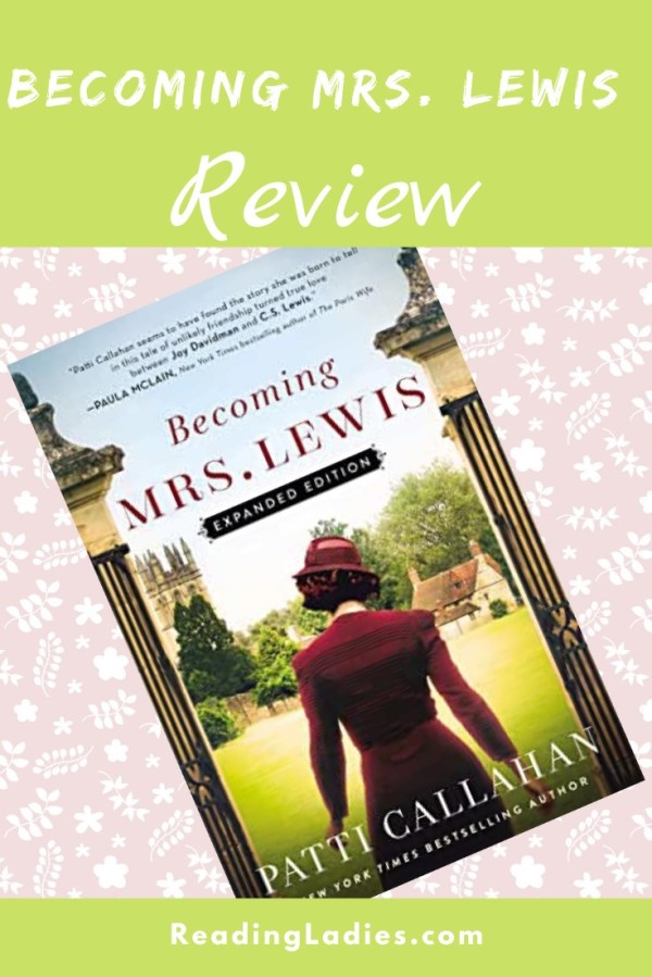 Becoming Mrs. Lewis by Patti Callahan (cover) Image: a woman in a red long sleeved dress and hat walks though a set of columns with her back to the camera