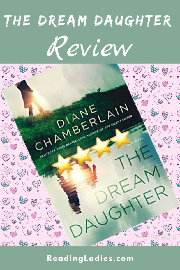 the Dream Daughter by Diane Chamberlain (cover) Image: a mother and daughter walk along a path and their image is reflected