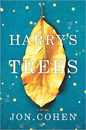Harry's Trees by Jon Cohen (cover) Image: a large brown leaf on a blue background