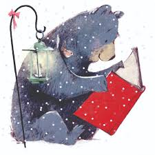 a large bear raeding a red book beside an old fashioned lamp on a snowy day