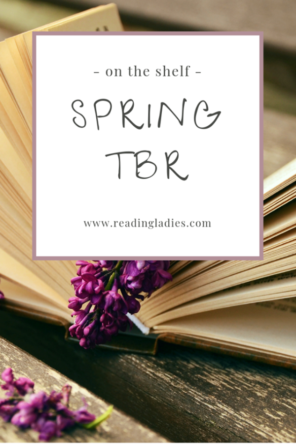 Open book with a spray of lilacs as a bookmark; Words: Spring TBR