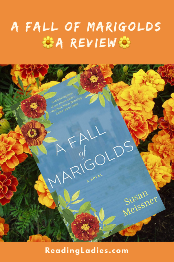 A Fall of Marigolds by Susan Meissner (cover) Image: white text on a blue backbround...marigolds peek into the edges of three corners