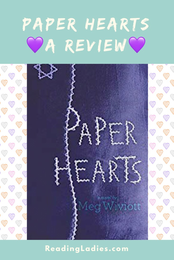 Paper Hearts by Meg Wiviott (cover) Image: hand stitched title on a blue background...stitched star in upper left corner