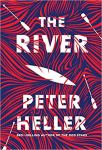 The River by Peter Heller (cover) Image: white text over a background of red and dark blue swirly lines