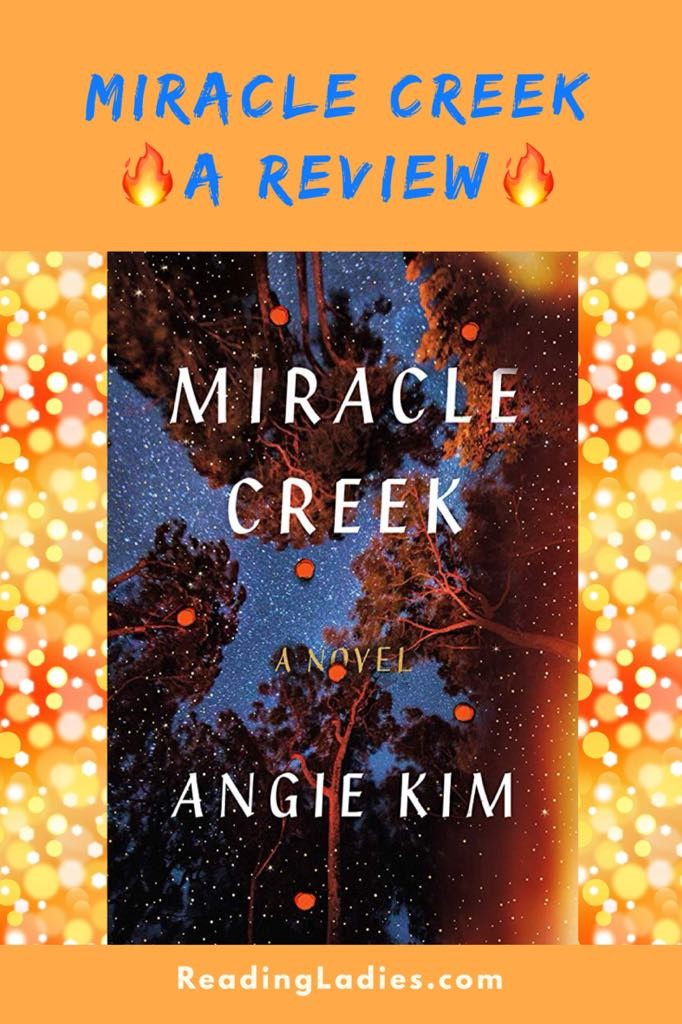 Miracle Creek by Angie Kim (cover) looking up at a night sky through several trees