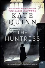 The Huntress by Kate Quinn (cover) Image: black and white image of a woman with her back to the camera walking into a shadowy area