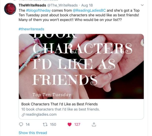 the write reads twitter post