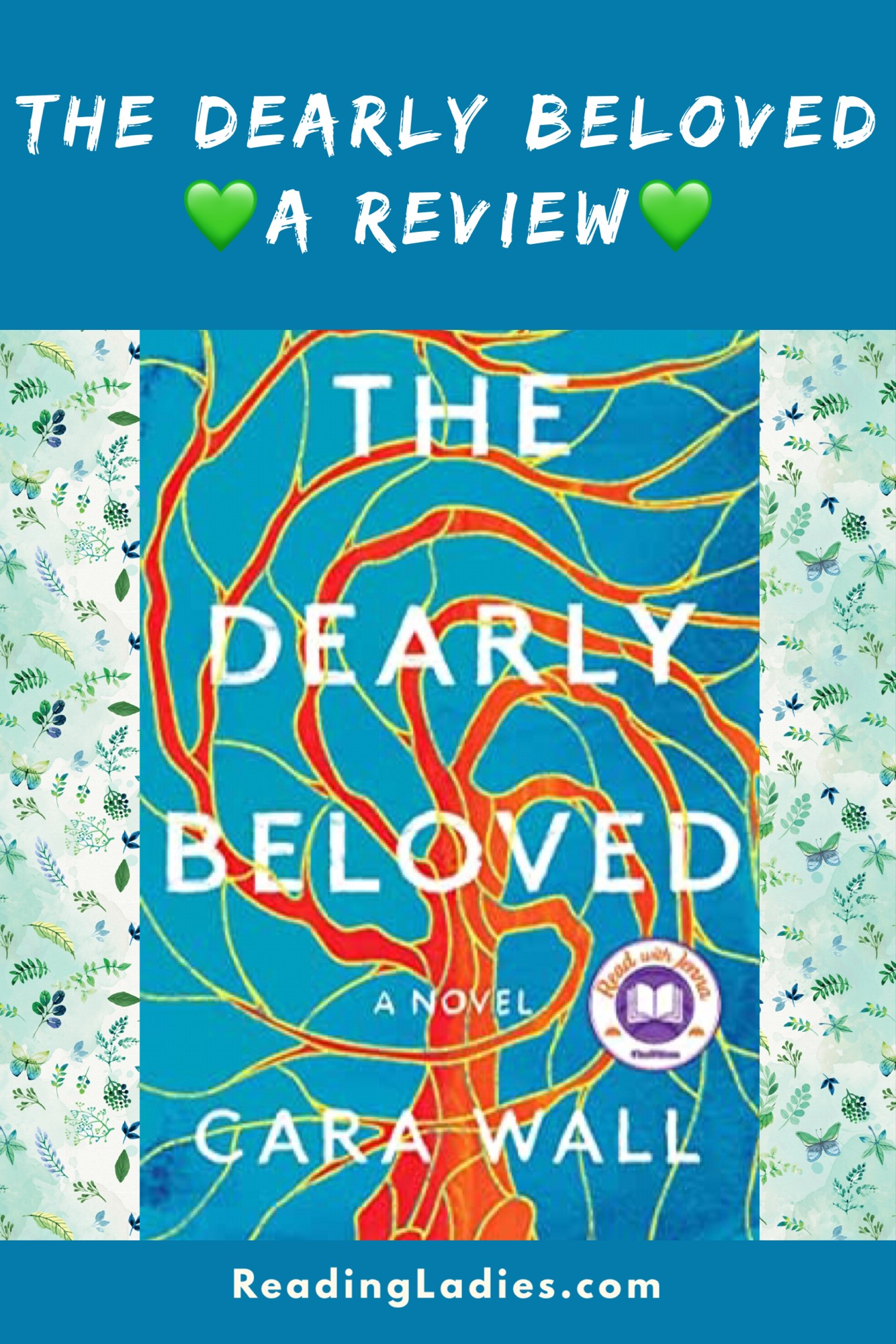Dearly Beloved by Cara Wall (cover) Image: white text over the graphic image of a tree with long reaching limbs....all against a blue background