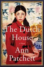 The Dutch House by Anne Patchett (cover) Image: a young girl with long dark hair and in a read coat sits for a portrait
