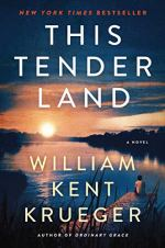 This Tender Land by william Kent Kruegar (cover) Image: a fiver at sunset and a lone boy sits on a pier