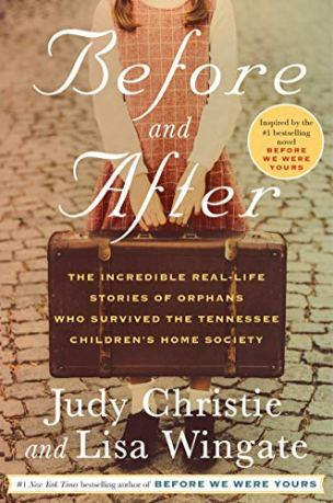 Before and After by Judy Christie and Lisa Wingate (cover) Image: a small girl stands on a cobblestone street holding a brown suitcase