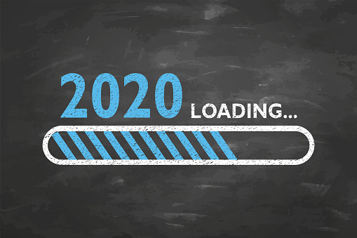 Loading New Year 2020 on Blackboard Background