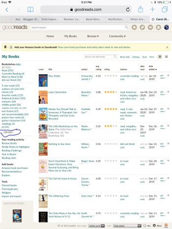 goodreads add shelf