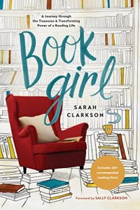 Book Girl by Sarah Clarkson (cover) Image: a reading chair surrounded by piles of books and bookshelves