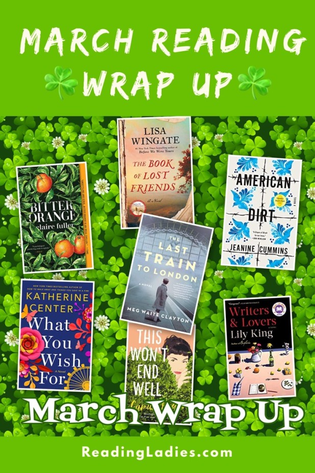 March Reading Wrap Up (collage of book covers on a background of three leaf clovers)