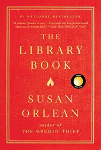 The Library Book by Susan Orlean (cover) Image: Gold lettering on a red background