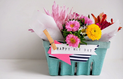 May Day basket of flowers
