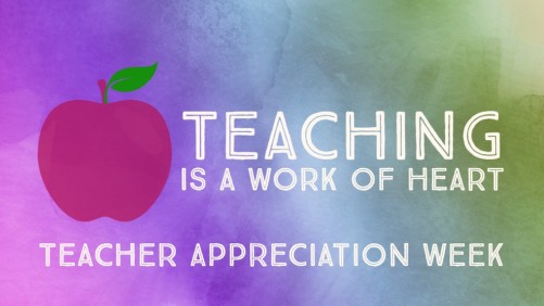 Teaching is a Work of Heart (image: apple plus text)