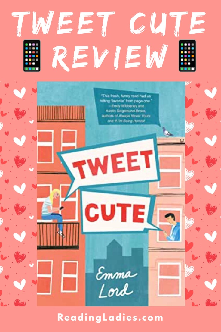 Tween Cute by Emma Lord (cover) Image: two apartment buildings with a teen in each using social media on their phones